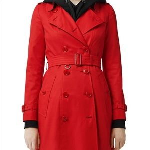 Burberry red coat used Size 10 like brand new cond